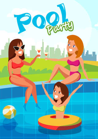 Summer pool party flat vector banner concept