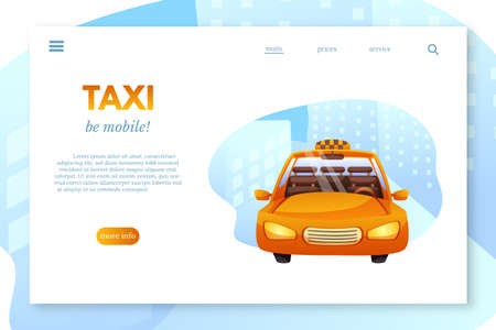 Taxi flat vector landing page template