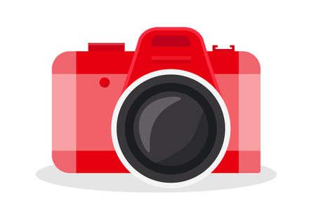 Red camera vector cartoon illustration Ilustração