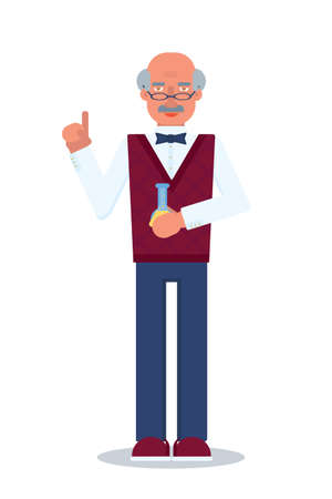 Scientist flat vector character. Senior science and chemistry teacher on white background. old man in glasses holding flask with chemical liquid. Chemist, professor, lab worker cartoon illustration
