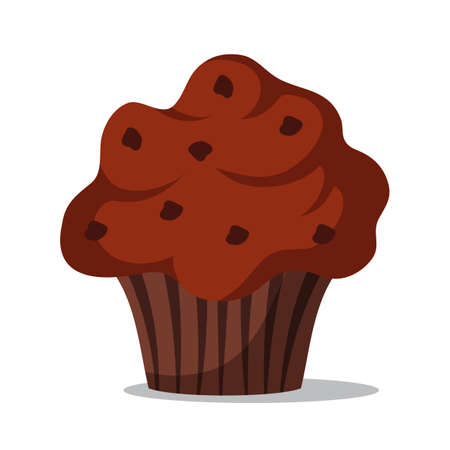 Delicious muffin flat vector illustration