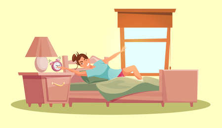 Girl waking up flat vector illustration. Young caucasian person in bedroom cartoon character. Woman getting up in morning, stretching and yawning. Everyday routine, awakening. Room in daylight.