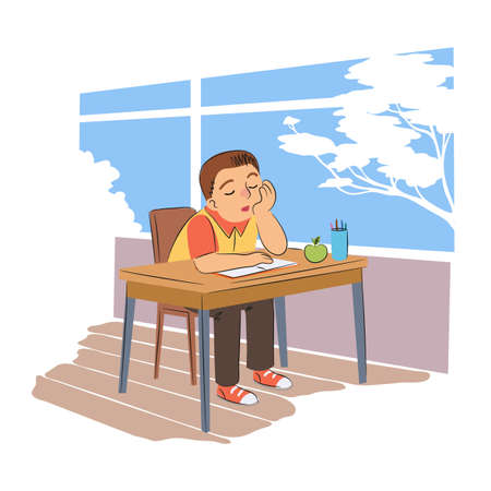 Pupil sleeping in school flat vector illustration. Tired schoolboy at desk with closed eyes cartoon character. Sleepy schoolkid sitting at table with notebook and apple in classroom. Vector Illustration