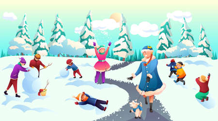Children celebrating winter holidays on fresh air. Christmas and New Year party in snowy park or forest with fairy tale characters. Snow Maiden, elf. Kids having fun. Vector flat cartoon illustration Ilustração
