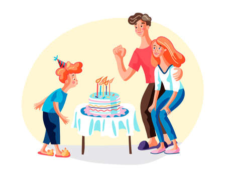 Birthday with parents flat vector illustration