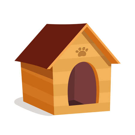 Small dog house, kennel flat vector illustration 일러스트