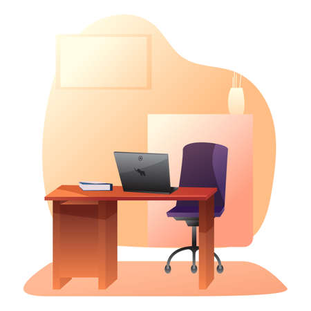 Empty private office flat vector illustration. CEO, boss, manager workplace drawing. Worker, employee desk with rolling chair, laptop on table. Workspace, modern office interior design Vector Illustration