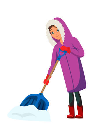 Woman removing snow flat illustration. Outskirts citizen winter season activity. Female cartoon character with snow shovel isolated on white background. Working snow cleaner. Snowfall fight concept