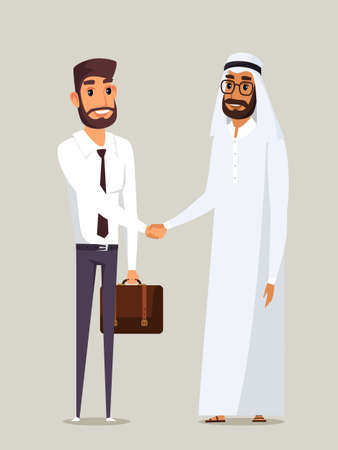Business partners handshake flat illustration Çizim