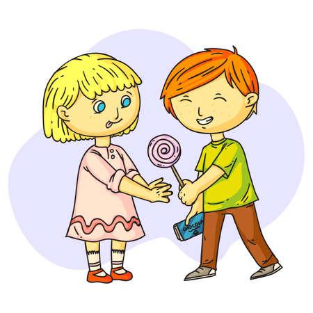 Netter lächelnder Junge, der Süßigkeiten mit glücklichem Mädchen teilt