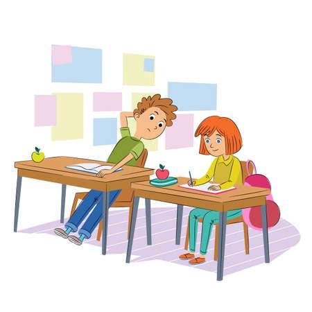 School test cheating flat vector illustration. Schoolmates, classmates in uniform cartoon characters. Kids writing quiz, cheater boy peaking exam answers. Children breaking rules, bad behavior.