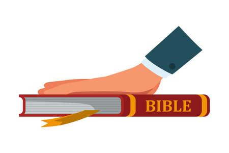 Main sur le livre de la bible pour le serment isolé sur blanc