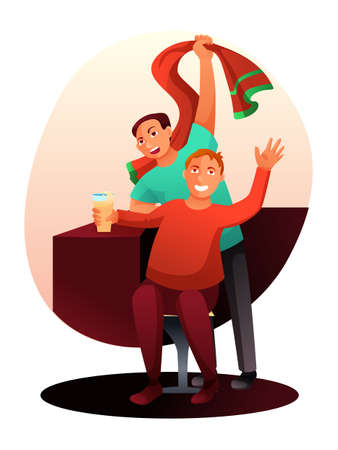 Cartoon fans character with alcohol drink, scarf watching football match in sport bar. Men rejoicing and celebrating team victory in national league. Championships. Goal scored. Vector illustration Illustration