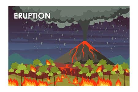 Eruption process flat vector illustration