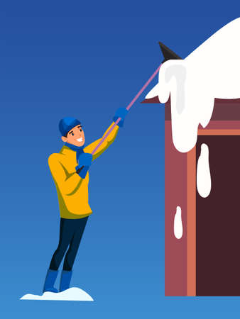 Man removing snow from roof flat illustration