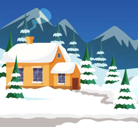 Village house exterior flat illustration. Mountain lodging and pines covered in snow. Winter landscape. Snowdrifts in yard. Small building with glowing windows. Frosty weather, evening scenery concept