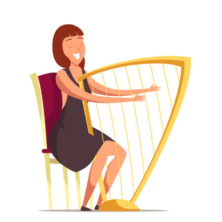Smiling harpist flat vector illustration