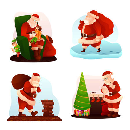 Santa Claus flat illustrations set Иллюстрация