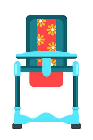 Feeding high chair flat vector illustration