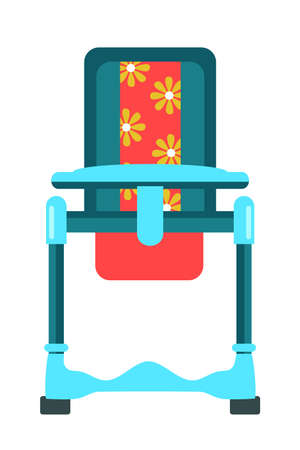 Feeding high chair flat vector illustration