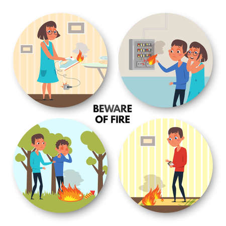 Beware of fire flat illustrations set. Children playing with matches. Kids cartoon characters touching household appliances isolated clipart. Dangerous situations poster template. Flame at home
