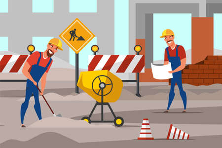 Repairmen working flat vector illustration. Handymen cartoon characters repairing road, digging ground. Concrete, cement mixer isolated design element. Road works, under construction building