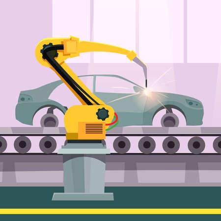 Car production process flat vector illustration