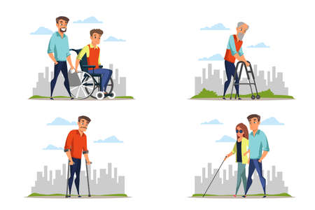 Disabled people flat vector illustrations pack isolated on white background