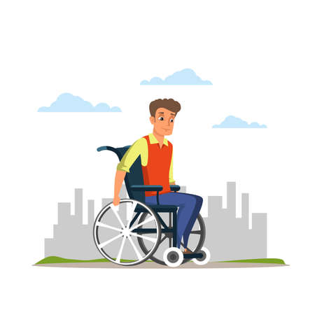 Young man in wheelchair flat vector illustration