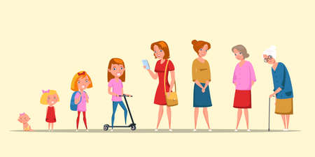 Woman life cycle, stages flat vector illustration Иллюстрация
