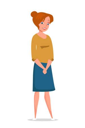 Beautiful housewife flat vector illustration isolated on white background Vektorgrafik