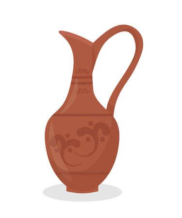 Ancient clay amphora flat vector illustration