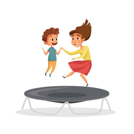 Kids jumping on trampoline vector illustration isolated on white background