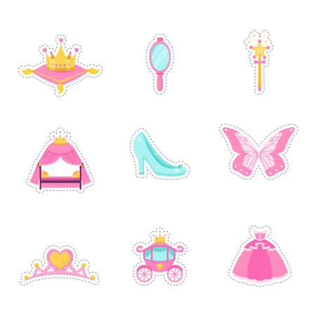 Princess items vector illustrations set. Pink fairy tales icons collection. Royal girl accessory symbols isolated design elements. Dress, mirror, crown, tiara, carriage, shoe decorative stickers