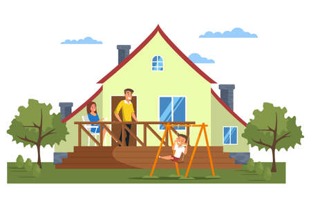 Happy modern family in front of house Stock Illustratie
