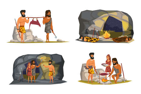 Stone age life scenes vector illustrations set Vector Illustration