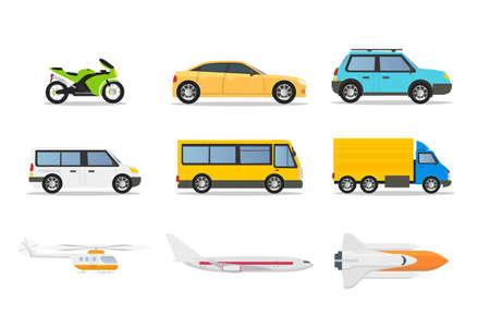 Tipos de transporte conjunto de ilustraciones vectoriales planas. Elementos de diseño aislados de vehículos de dibujos animados. Automóvil de pasajeros, motocicleta, autobús urbano, helicóptero, avión, cohete. Público urbano, automóviles privados, aeronaves Ilustración de vector