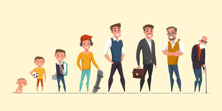 Man life cycle, stages flat vector illustration. Happy aging gentleman cartoon character. Person growth process, phases. Infancy, childhood, maturity and senility. Baby, teenager, adult and senior