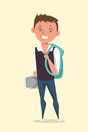 Little happy schoolboy flat vector illustration. Smiling schoolchild with rucksack cartoon character. Cheerful elementary grade pupil with hairpin butterfly. Happy childhood, primary education