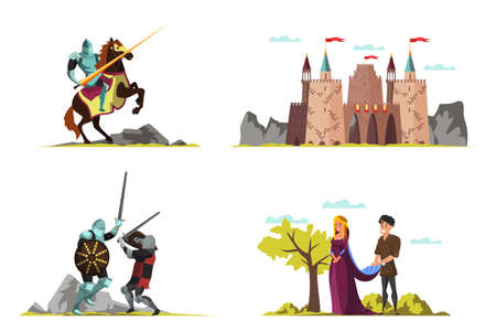 Middle ages vector illustrations set isolated on white background