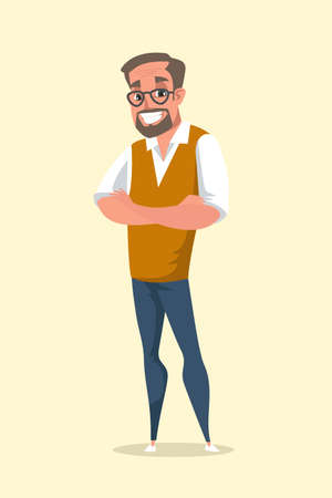 Smiling middle aged man flat vector illustration. School teacher, cheerful tutor cartoon character. Happy grandfather in shirt and stylish waistcoat. Positive old person standing with crossed arms Иллюстрация