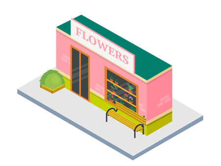 Flower shop building isometric 3d illustration
