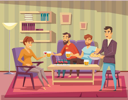 Home party flat vector illustration. Friends at house party. People relaxing in apartment living room composition. Male and female characters drinking alcohol beverages and eating snacks.