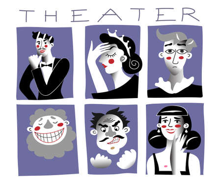 Theater characters flat vector illustrations set