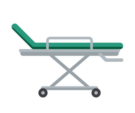 Emergency department stretchers flat illustration. Cartoon medical equipment for injured patients. Hospital bed isolated clipart on white background. Paramedic, first aid service tool design element.