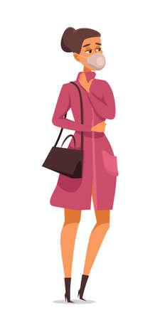 Woman in face mask flat vector illustration Illusztráció