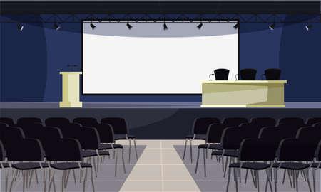 Ilustración de vector plano de sala de conferencias vacía