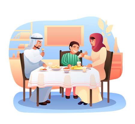 Arabische Familie, die flache Vektorillustration zu Abend isst