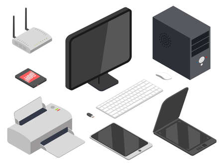 Computer devices realistic illustrations set 向量圖像