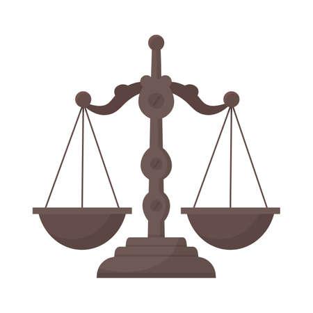 Balanced scales flat vector illustration